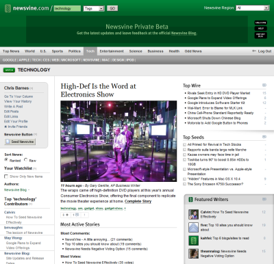 Screenshot of Newsvine 'technology' section